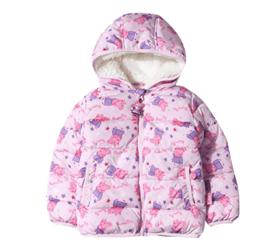 【满200减110】小猪佩奇童装女童冬装粉色小猪满印短款连帽棉衣