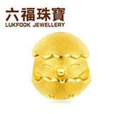 六福珠宝生肖鸡黄金转运珠女开心鸡宝宝串珠手绳定价L01A1TBP0019