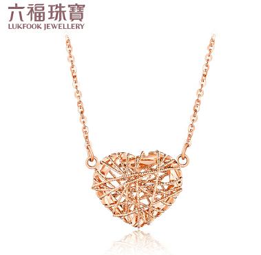 六福珠宝18K金项链爱缠心彩金项链套链