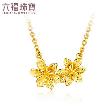 六福珠宝栀子花足金吊坠黄金项链吊坠女套链含坠